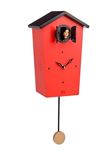 KOOKOO Birdhouse Limited Edition rot, Moderne Kuckucksuhr, Design Wanduhr mit 12 Vogelstimmen oder Kuckuck, mit Pendel, Aufnahmen aus der Natur von Jean-Claude Roché