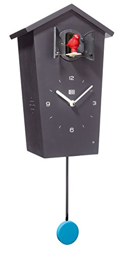 KOOKOO BirdHouse Schwarz Wanduhr mit 12 natürlichen Vogelstimmen aus der Natur oder Kuckucksuhr moderne design Singvogel Uhr mit Pendel
