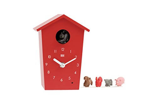 KOOKOO AnimalHouse Rot, Moderne kleine Kuckucksuhr mit 5 Bauernhoftieren, Aufnahmen aus der Natur Moderne witzige Design Uhr