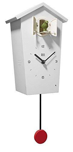 KOOKOO BirdHouse Weiß Wanduhr mit 12 natürlichen Vogelstimmen aus der Natur oder Kuckucksuhr moderne design Singvogel Uhr mit Pendel