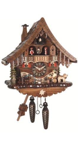 Engstler Quarz Kuckucksuhr Schwarzwaldhaus mit beweglichem Biertrinker und Mühlrad, mit Musik EN 471 QMT