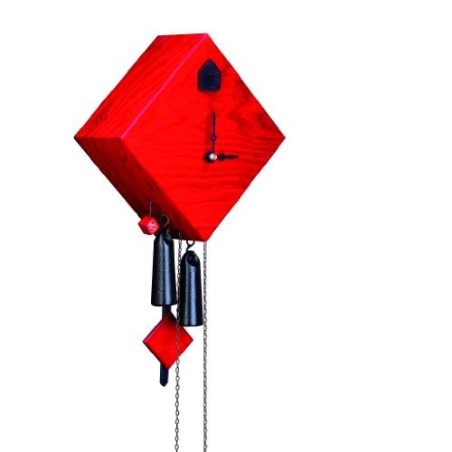 Rombach & Haas Moderne Kuckucksuhr Karree-Raute rot-lasiert 8-Tagewerk 27 cm