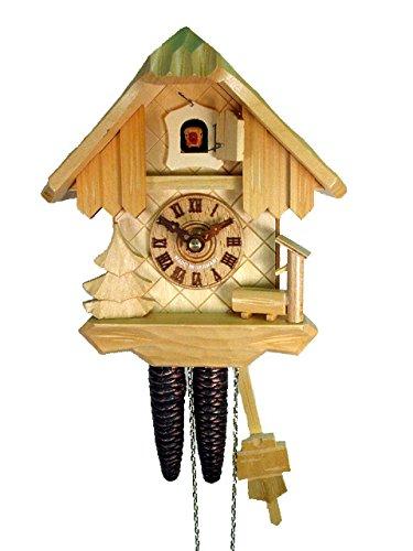 Orig. Schwarzwälder Kuckucksuhr (zertifiziert), Haus, 1-Tag-Werk, mechanisch, 22 cm, Brunnen und Baum, naturfarben, Schwarzwald