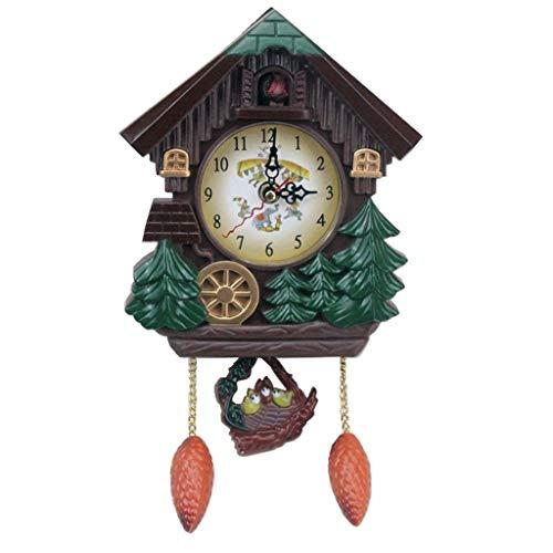 Homyl Kuckucksuhr Kuckucks Uhr Wanduhr mit Vogel Geräusche für Wohnzimmer Kinderzimmer