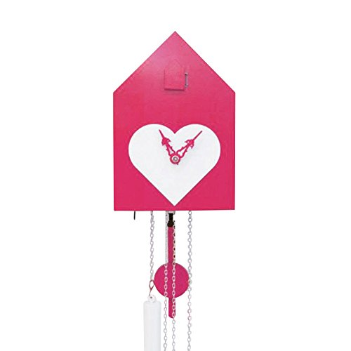 Artificial - Kuckucksuhr, pink mit weißem Herz Zeiger weiß