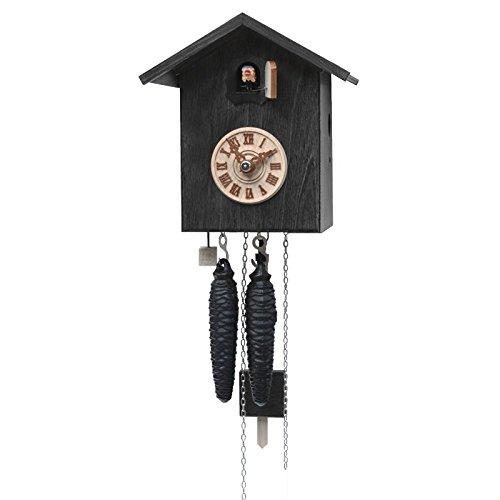 Rombach & Haas Moderne Kuckucksuhr Vogelhaus schlicht schwarz mit Ziffernblatt 1-Tagwerk 18 cm