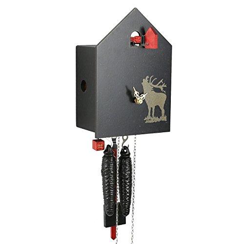 """Modernes VdS zertifiziert 1Tag schwarz Hunter Design mit Belling Hirsch ROMBA Art Kuckucksuhr von Rombach und Haas (Extra 20% OFF Verkauf Preis–Code """"romba20)"""