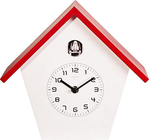 NeXtime Birdy Kuckucksuhr, Wanduhr, Küchenuhr, Uhr, Bürouhr, Wohnzimmeruhr, Deko, Holz, Weiß, Rot, 3108ro