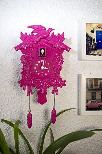 Walplus 20x 37cm Kuckucksuhr Wand Home Dekoration DIY Living Schlafzimmer Décor Kunststoff Kinder Zimmer Geschenk, pink
