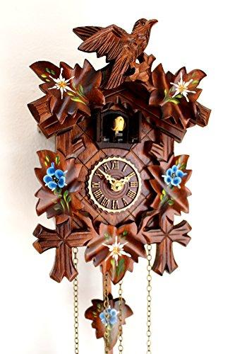 Schwarzwälder Kuckucksuhr geschnitzt Quarz Uhr mit Edelweiss Enzian bemalt