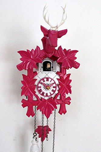Design Kuckucksuhr moderne Quarz Uhr Hirschkopf weiß pink Quarzuhr neu