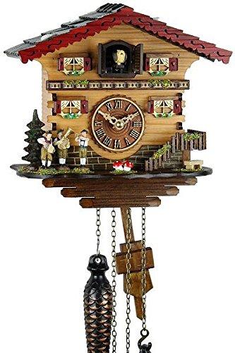 Schwarzwälder Kuckucksuhr aus Echtholz mit batteriebetriebenem Quartzwerk und Kuckuckruf - Angebot von Uhren-Park Eble - Musikanten 21cm-