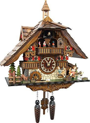 """Kuckucksuhr """"Große Wildpark Mühle"""" von SCHWARZWALD-PALAST mit Quarz-Uhrwerk - Höhe 42cm"""
