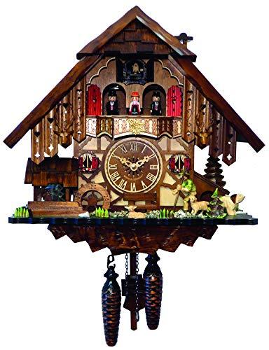 Selva Kuckucksuhr Hinterzarten Traditionelle Schwarzwälder Handwerkskunst – Made in Germany – In Nussbaum gebeiztes, aufwendig dekoriertes Fachwerkhaus – Zeitlos, schick. (Höhe: 35 cm) – C341969