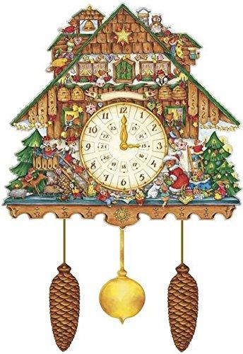 """""""Weihnachtskuckucksuhr """" Adventskalender mit drehbaren Uhrzeigern, schwenkbarem Pendel und beweglichen Zapfen"""